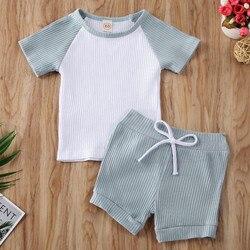 Детская летняя одежда для мальчиков и девочек CANIS, футболка с коротким рукавом + полосатый комплект с шортами и бантом