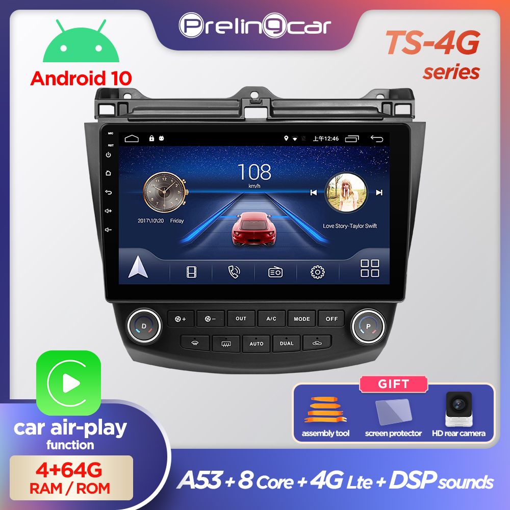 Prelingcar Android10.0 NO DVD 2 Din Car <font><b>Radio</b></font> Multimedia Video Player Navigation GPS For <font><b>Honda</b></font> <font><b>Accord</b></font> 7 2003 <font><b>2004</b></font> 2005-2008 2.5D image