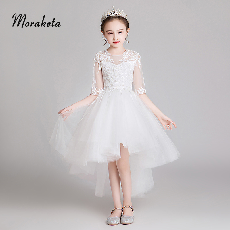 Short Front Long Back First Communior   Dresses   For   Girls   Princess Tulle Baby Christianing   Dress   White   Flower     Girl     Dresses