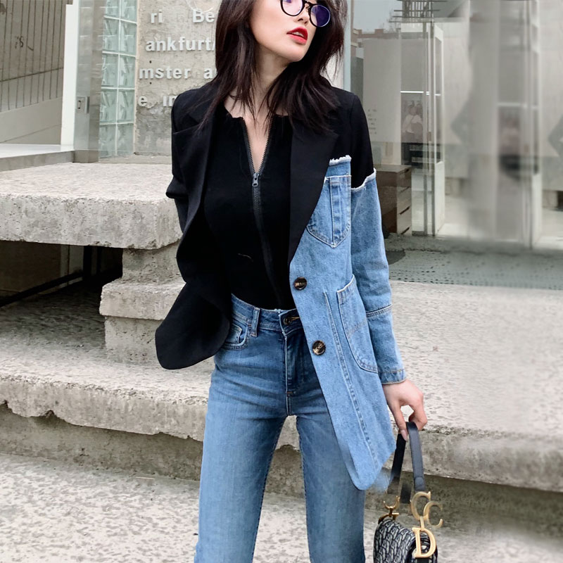 Suit Women 2020 New Spring Fashion Personality Irregular Stitching Denim Jacket Slim Small Suit Female Blazer OL Blazers NS1852