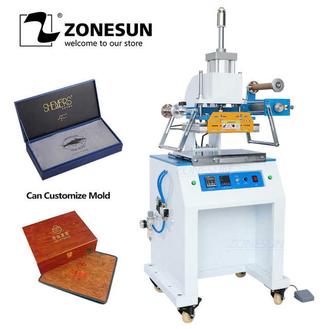 ZONESUN ZS 819D 2030 سنتيمتر هوائي شعار اسم بطاقة الجلود الحرارة الصحافة الساخن احباط ختم التجعيد ماكينة نقش مساحة كبيرة