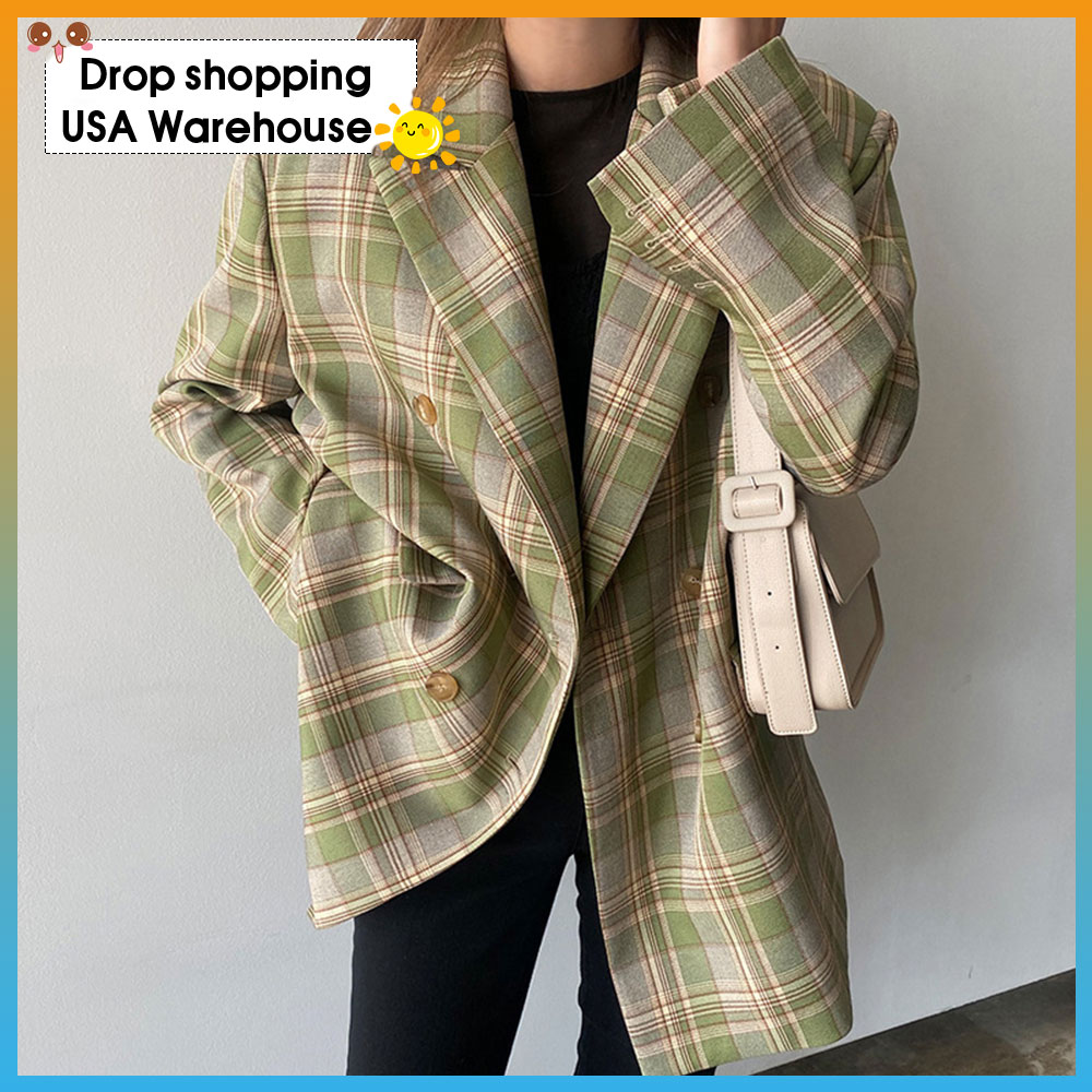 2020 Autumn New Plaid Suit Jacket Women's Korean-Style Loose Retro Casual British-Style Suit Fashion Ladies Blazer