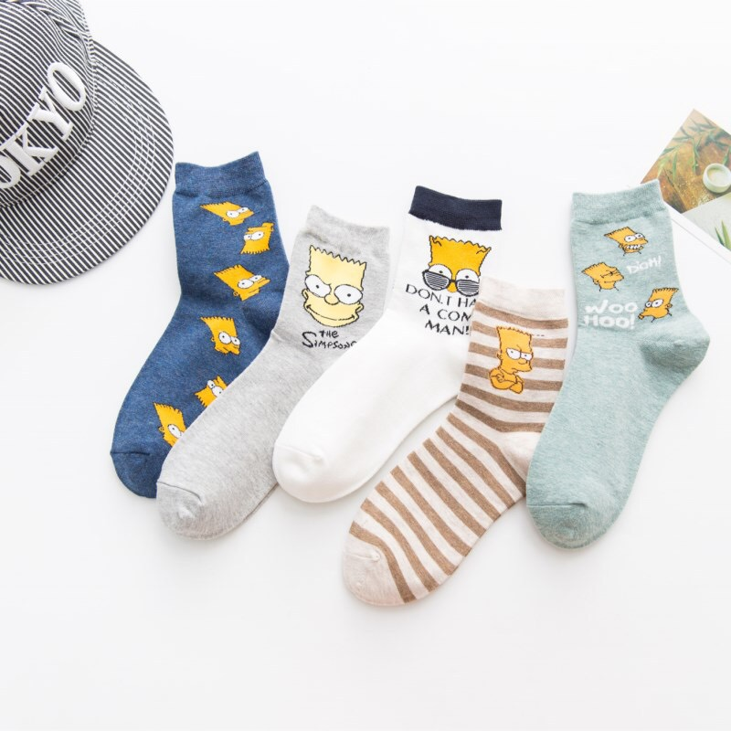 2020 HOT Spring And Summer New Combed Cotton Deodorant Men's Socks Simpson Male Cartoon In Stockings
