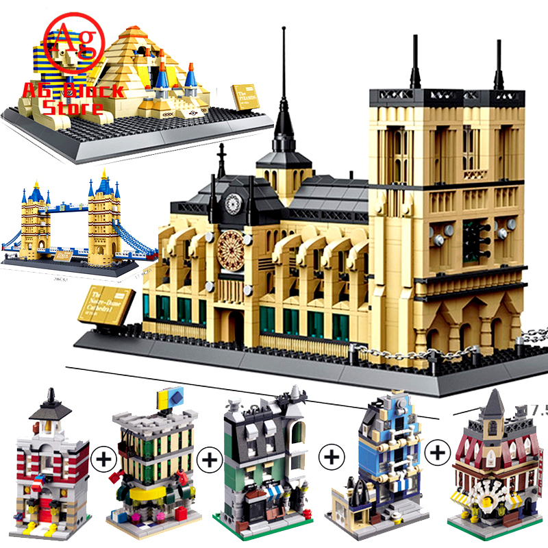 Compatible Legoed London Paris Town Creator Modular City Street Shop Store Building Block Wange Architecture Toys lepinblocks