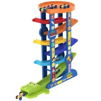 Ramp Race Track and 6 Mini Inertia Car Sliding Toy Vehicel and Train Baby Toddler Motor Skill Developmental Kids Gift