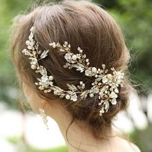 TRiXY H280 роскошный горный хрусталь для новобрачных повязка на голову волос ювелирные изделия Золотой свадебные диадемы аксессуары невесты тиара