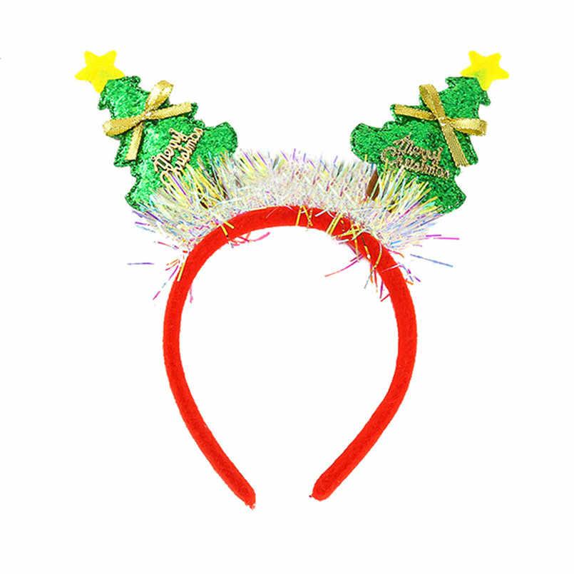 Новогодняя Детская Рождественская вечеринка обруч на голову с рогами аксессуары для волос Милая Детская повязка на голову