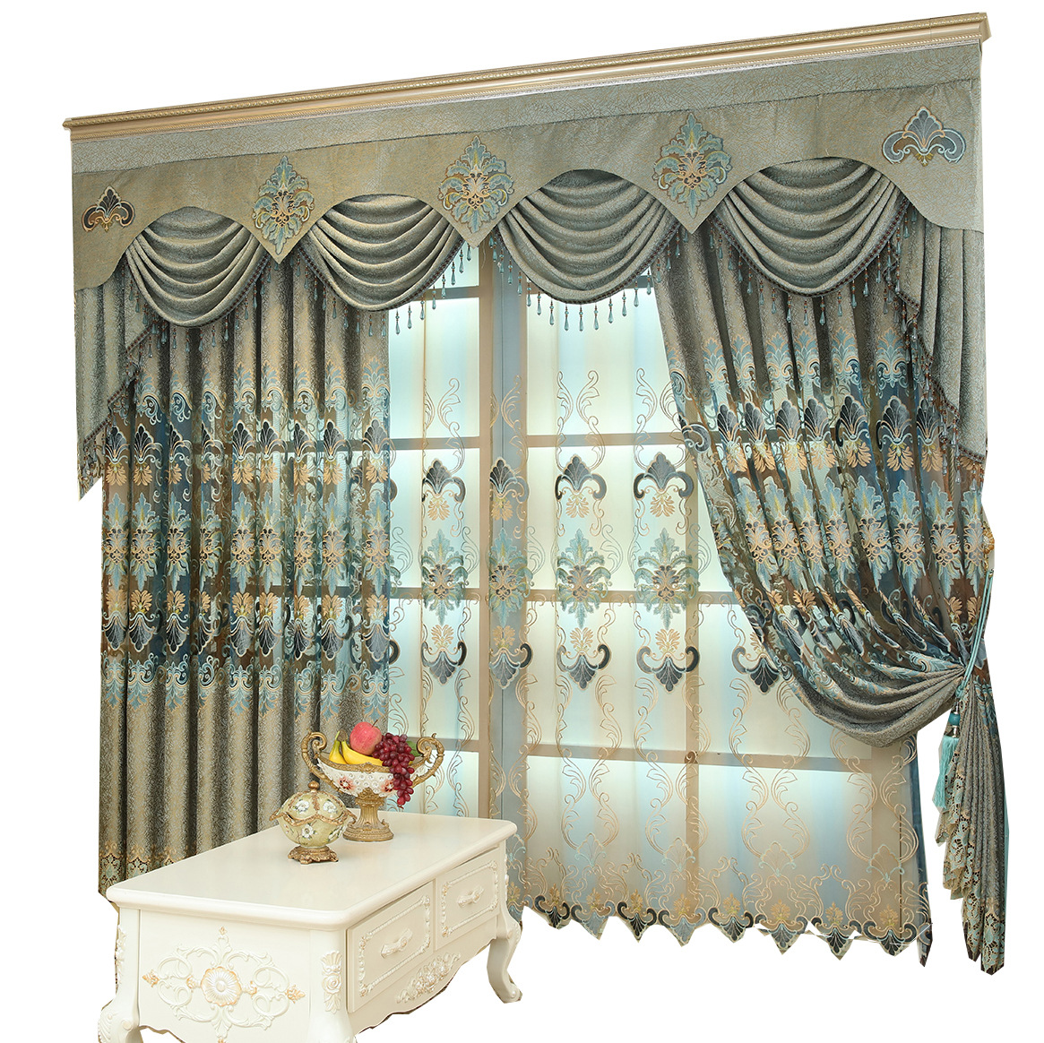 High-grade European Classical Luxury Chenille Water-soluble Embroidery Curtains For Living Dining Room Bedroom.