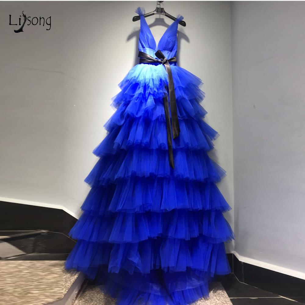 Real Image Royal Blue Ruffles Tulle Prom Dresses 2019 Puffy A-line Tutu Prom Gowns Sexy Backless Formal Dresses With Bow