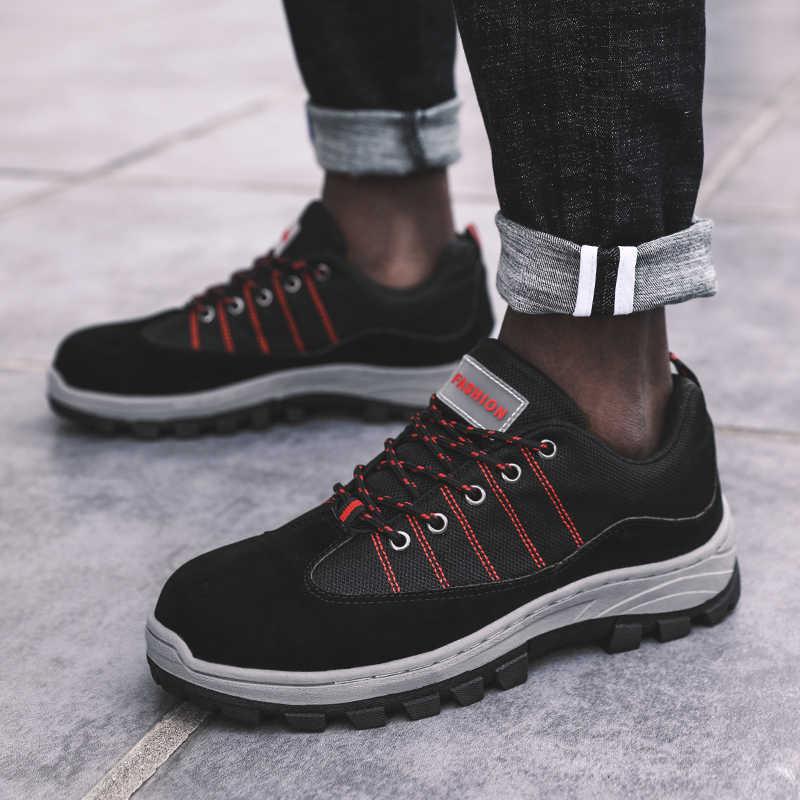 Мужская Рабочая обувь защитные ботинки 2019 уличные кроссовки мужские ПРОКАЛЫВАЮЩИЕ ботинки стальной носок Кепка Военная безопасность рабочие ботинки плюс размер 46