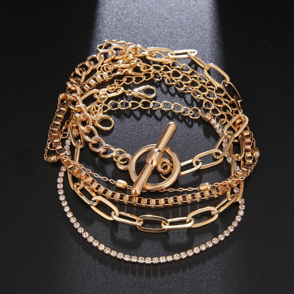 5 pz/set Punk oro cristallo catena spessa braccialetto femminile bohemien geometrica catena OT fibbia braccialetto Set gioielli ragazza regalo del partito 2