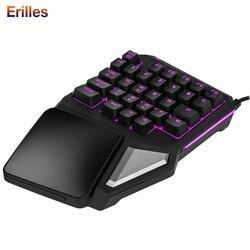 Jednoręczna klawiatura mechaniczna przewodowa przenośna Mini klawiatura do gier na PC PS4 Xbox Gamer ergonomiczna klawiatura do laptopa