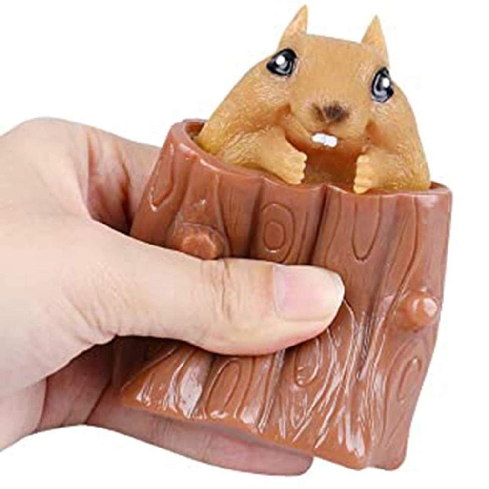 Quetschen Eichhörnchen Tasse Baumstumpf-Förmigen Dekompression Spielzeug Zappeln Antistress Sensorischen stress entlastende Spielzeug Geschenk Für kinder Erwachsene