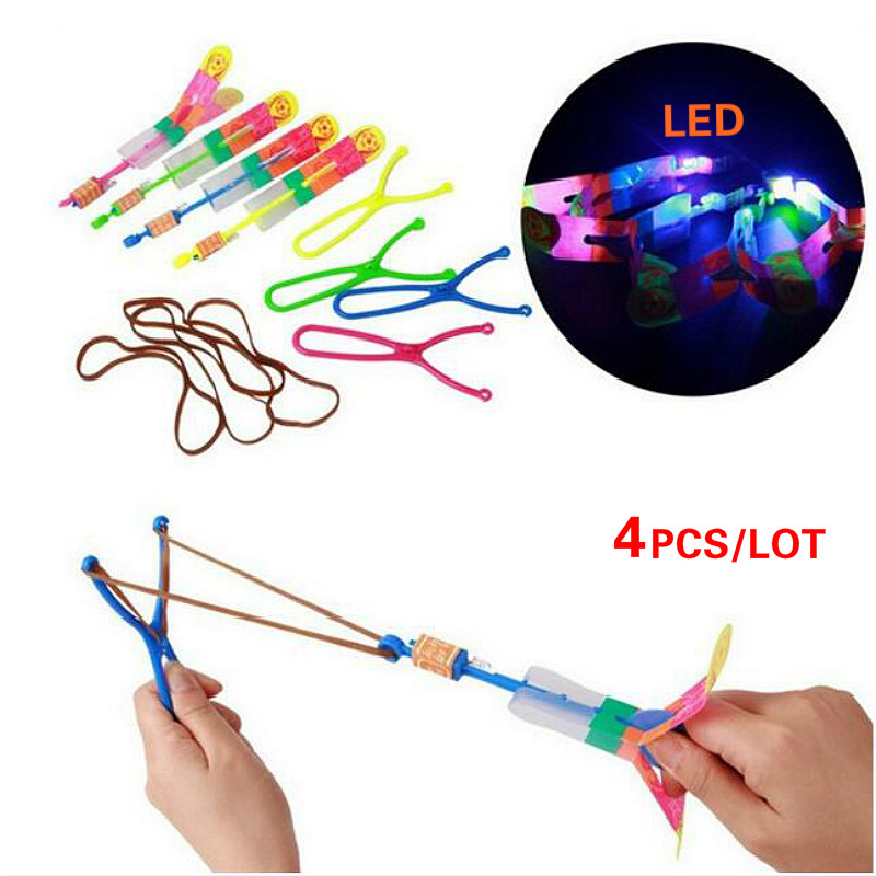 4 Color LED Flying Toy Light Catapult Arrows Flying Flash Helicopter  Emitting Hot Sale Children'S Toys Xmas Gift