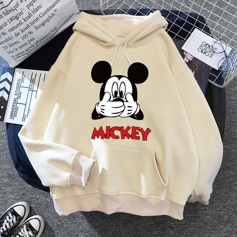 Disney Women Hoodies Minnie Mickey Mouse Hoodies Cartoon Tops Long Sleeve Pockets Sweatshirts Fashion Hooded Women 25