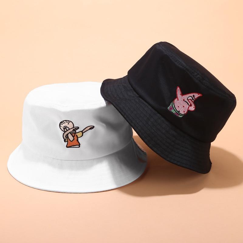 Unisex Bucket Hat Fisherman Caps Leisure Fashion Women Cartoon Text Embroidery Bob Caps Cotton Outdoor Beach Sun Hats