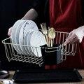 Сушилка для посуды из нержавеющей стали с поддоном для капель  Золотая проволока  Подставка для столовых приборов  полка для кухонной посуд...