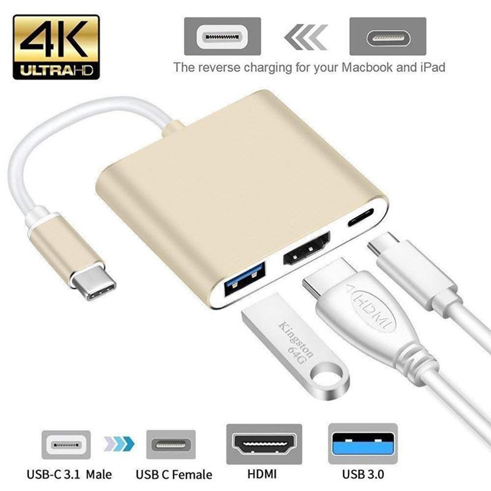 3 In 1 USB-C To HDMI Cable Converter For Apple Macbook USB 3.1 Thunderbolt 3 Type C Switch To HDMI 4K Hub Adapter Cable 1080P