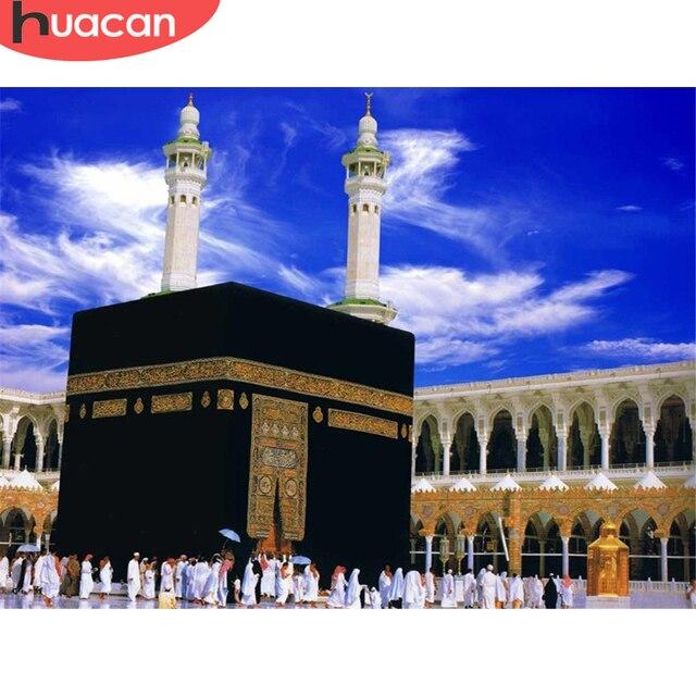 HUACAN 5D DIY יהלומי ציור מלא כיכר יהלומי פסיפס מסגד רקמת דת תפאורה בית איסלאמיזם