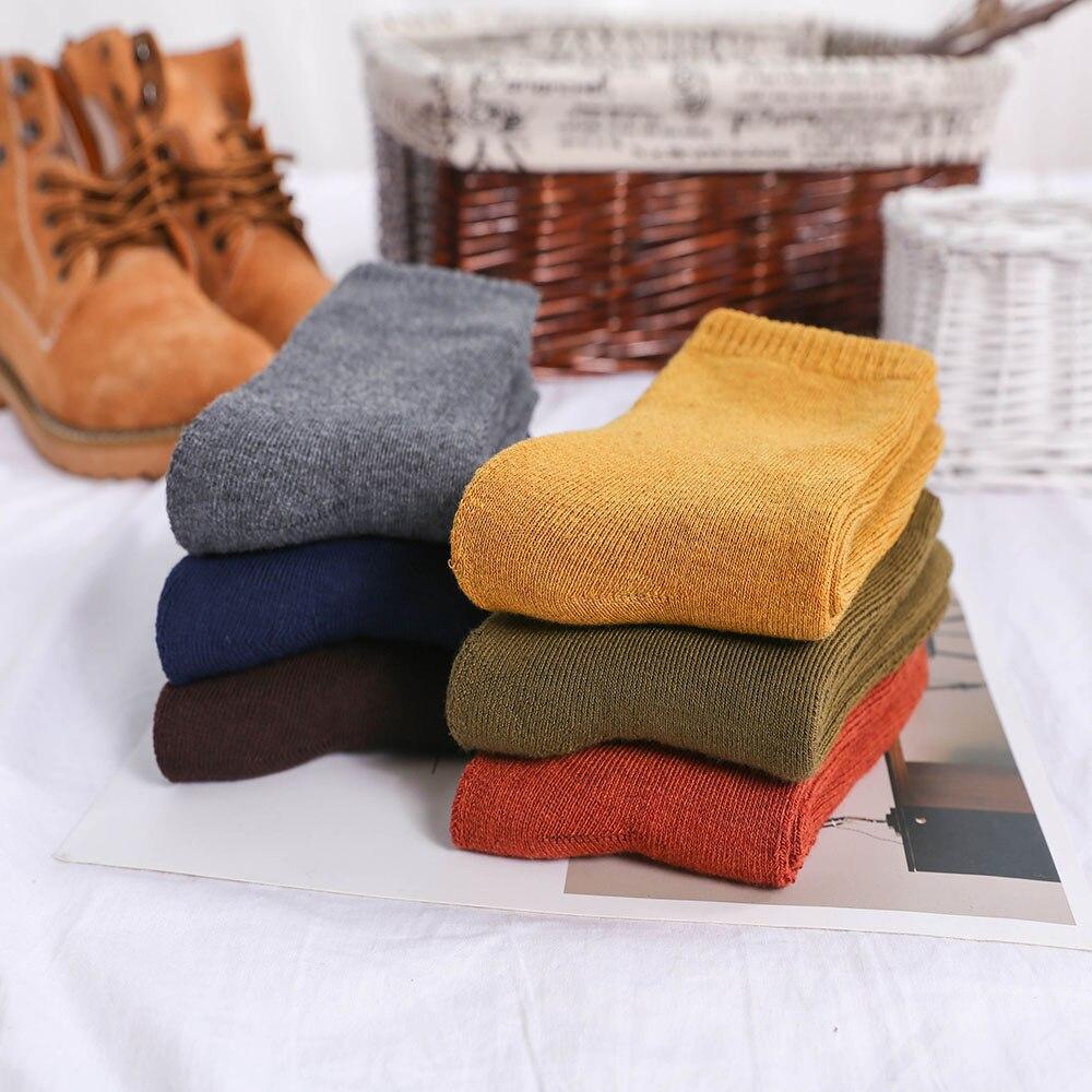 Winter Men's Color Thickening Warm High Quality Fashion Casual Wool Socks Harajuku Retro Solid Color Men's Cotton Socks