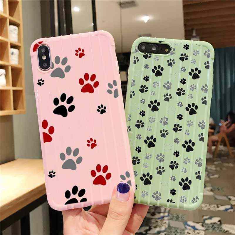 Köpek ayak izi pençe Husky arabası bavul doku telefon iphone için kılıf 11 Pro Max X XS MAX 8 7 6S artı