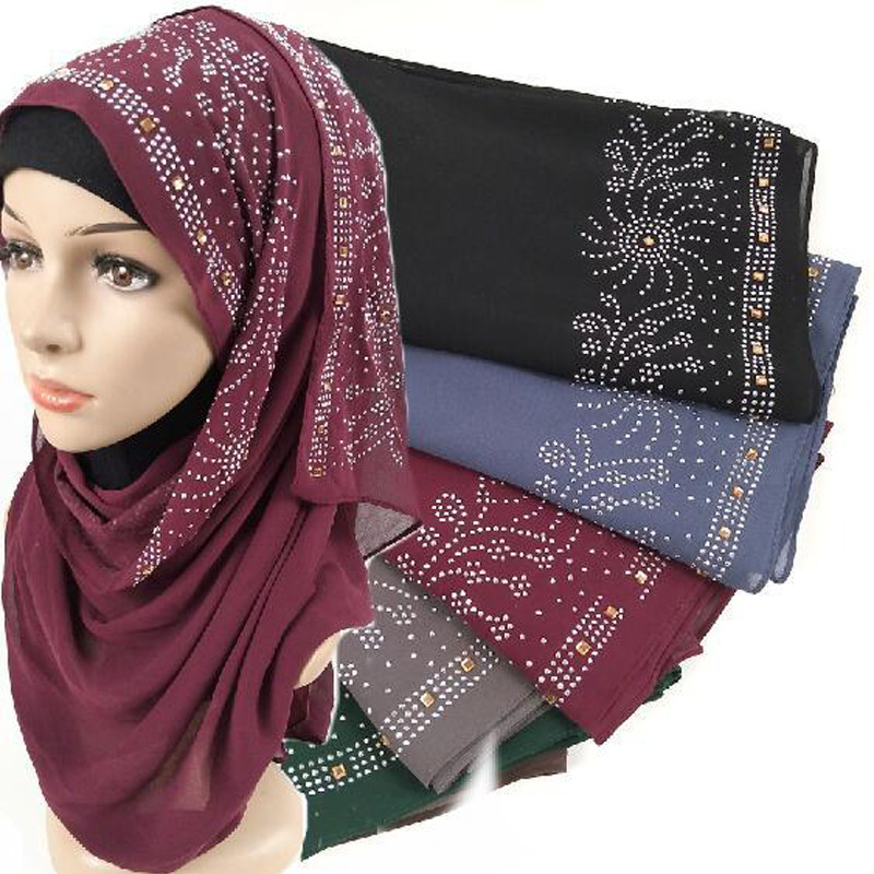 180*75cm Solid Color Muslim Chiffon Hijab With Drill Head Scarves For Ladies Islamic Shawl Hijabs Foulard Arab Wrap Turban Scarf
