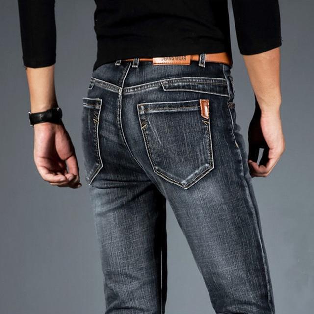Spring Autumn 2021 Men's Smart Elastic Jeans Business Fashion Straight Regular Stretch Denim Trousers Men Jeans Plus Size 28-40 1