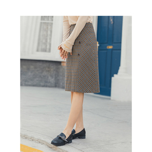 Image 3 - אינמן אביב חדש הגעה נשים של ספרותי רטרו סגנון גבוה מותן משובץ שקופיות יחיד כפתורי נשים הולם אונליין חצאית