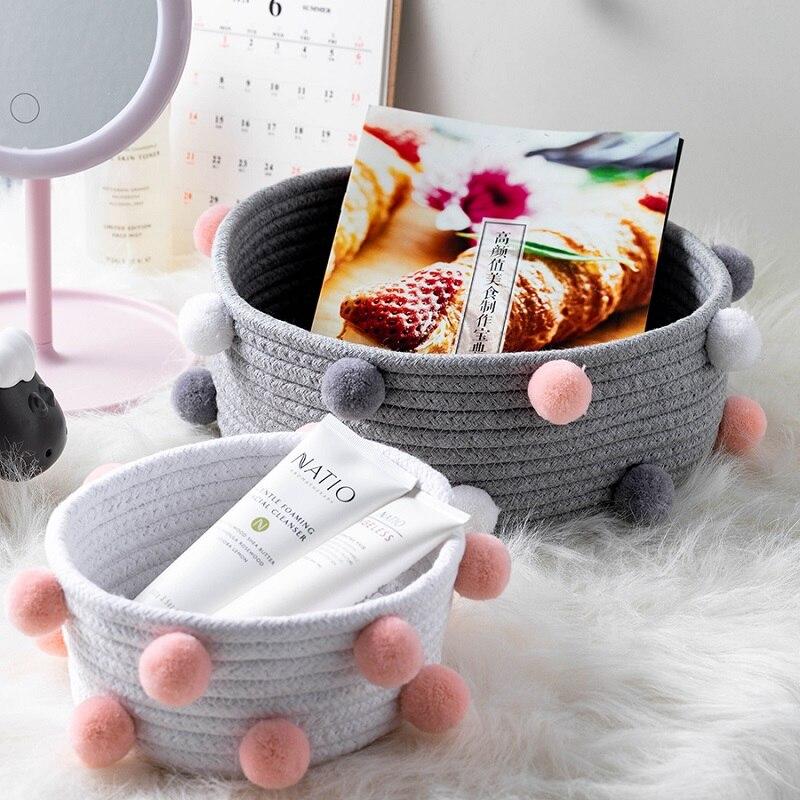 Ponpon pamuk halat saklama sepetleri el yapımı dokuma kirli giysiler çamaşır sepeti çocuk oyuncakları masaüstü çeşitli eşyalar organizatör sepet