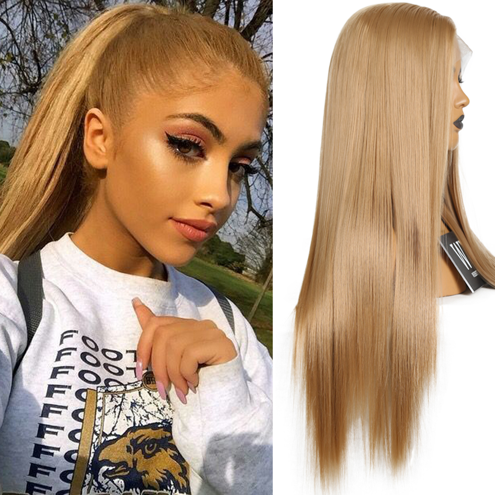 FANXITON Silky Straight Synthetic Lace Front Wig Heat Resistant Fiber Long Hair Blonded Wig Free Part For Women