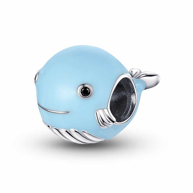 Fit avrupa bilezik gümüş 925 orijinal sevimli kabuk çapa yunus güvenlik zinciri boncuk takı yapımı için kaplumbağa denizyıldızı takılar