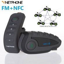 5 Riders V8 Bluetooth Intercom Helmet NFC Motorcycle Handlebar Remote Control Communicator Helmet Headset with FM radio