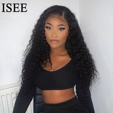Mongolian Deep Wave Wigs 5X5 Lace Closure Wig For Women 180% Deep Wave Lace Closure Human Hair Wigs ISEE HAIR Wigs