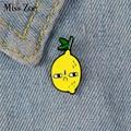 Завидую лимон эмали штырь пользовательские завистников уход за кожей лица броши для рубашка с лацканами сумка значки с фруктами из мультфи...