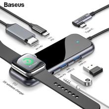 Baseus USB-C Тип C концентратор HDMI RJ45 Мульти USB 3,0 адаптер для MacBook Pro Air док-станция USB C концентратор с Беспроводной Зарядное устройство для наручных часов iWatch