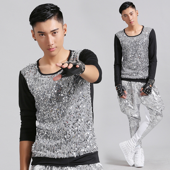 Men's Clothing Nightclub Men Sequins Male Singer DS Slim Vest Stage Costumes Stage Mens T Shirts Fashion 2020 Stranger Things