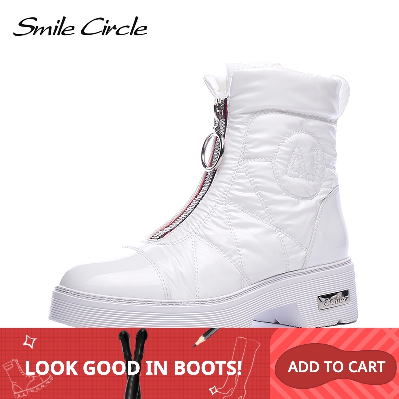 2019 Winter boots Women Snow Boots Warm down shoes easy wear girl white Black zip Flat platform shoes Chunky Boots Smile Circle-in Mid-Calf Boots from Shoes