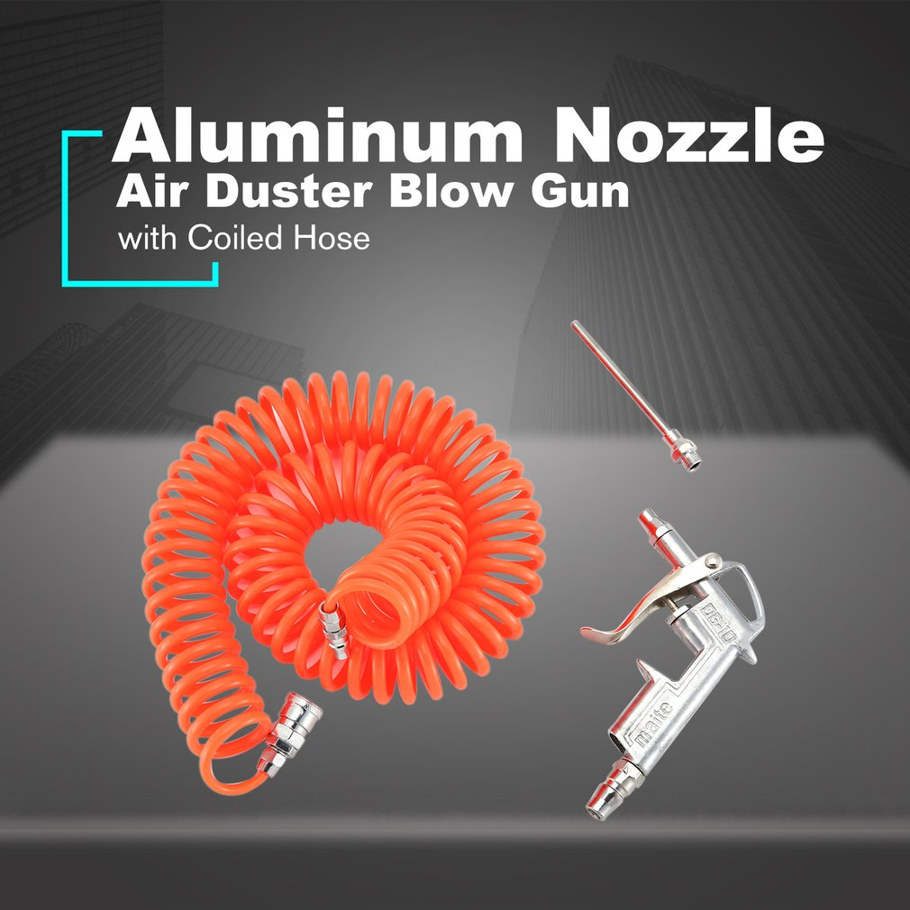 Aluminum Nozzle Air Duster Blow Gun  Pneumatic Dust Removing With 6M Coiled Hose Tool Accessories For Truck Van Lorry Blower