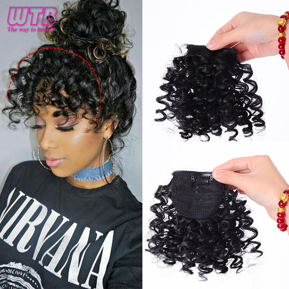 WTB Short Afro Kinky Curly Hair Bangs High Temperature Synthetic Fluffy Invisible Clip In Hair Extension Bangs For Black Women