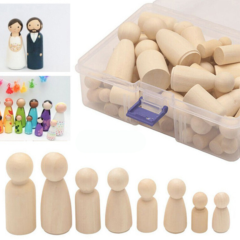 50pcs/set Wooden Peg Dolls Unfinished People Christmas Nesting DIY Peg Dolls Unpainted Blank Set DIY Crafts Toys With Box