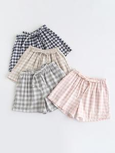 Pajamas Shorts Couple Lattice Gauze Home-Pants Elastic-Waist Japanese-Style Large-Size