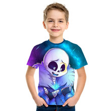 T-shirt d'été pour enfants de 4 à 12 ans, jeu en 3D, pour garçons et filles, Sans dessins animés, à la mode, 2020