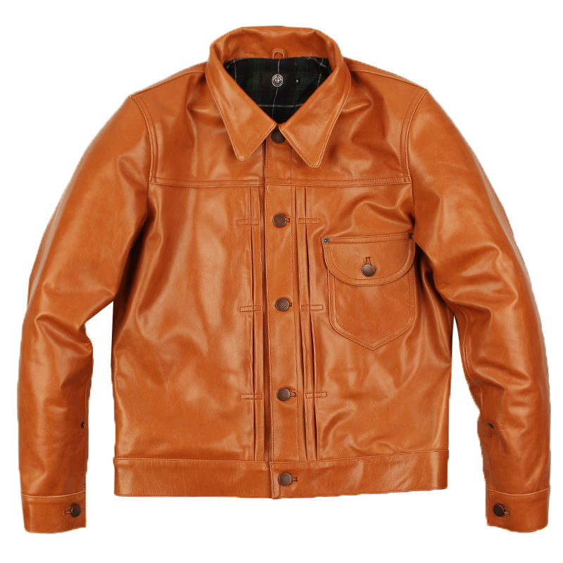 Free Shipping.Brand Classic 506 Oil  Cowskin Coat,man's 100% Genuine Leather Jackets,fashion Men's Slim Japan Style Jacket