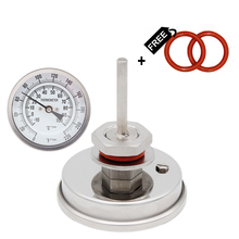 "Dial Thermometer   3""Face x 2.5"" Probe 1/2""NPT 0 220 F Beer Boil Kettle Homebrew Thermometer"