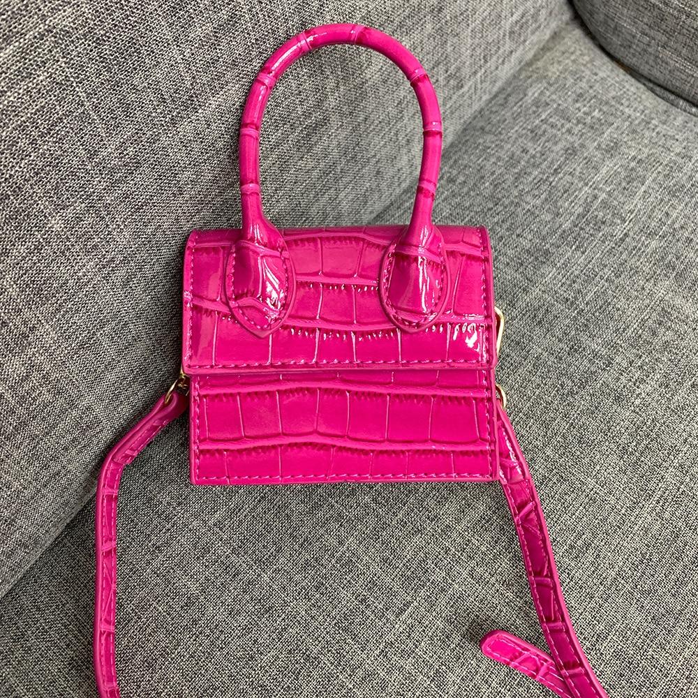 NEW Brand Luxury Crocodile Pattern Leather Shoulder Bags Trendy Ladies Mini Flap Designer Pink Bag Small Handbags For Women