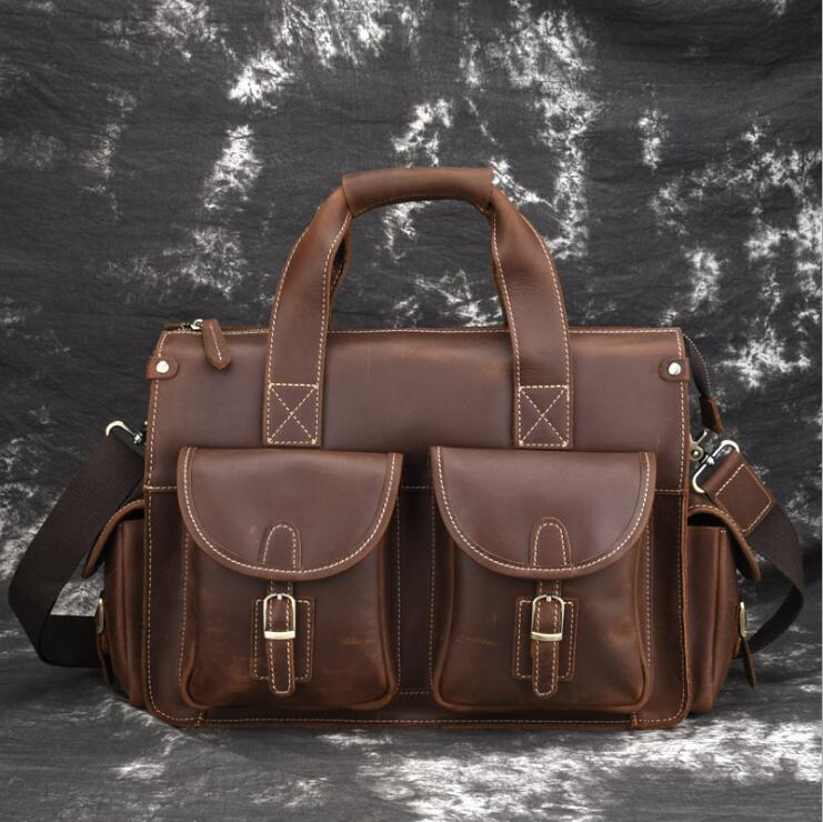 MAHEU High Quality Genuine Leather Hand Briefcase Crazy Horse Leather Computer Bag  Laptop Ipad A4 Brief Case For Man Male Boy