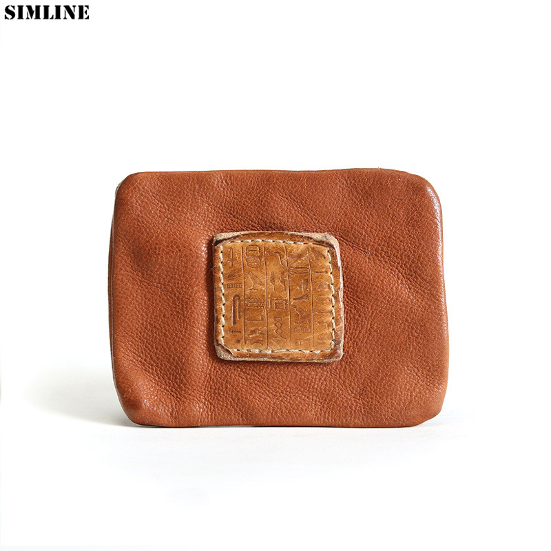 Genuine Leather Coin Purse Men Women Vintage Handmade Zipper Small Mini Wallet Card Holder Money Bag Case Change Purses Pocket