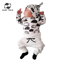Baby Boy Clothes Soft Autumn Baby Girl Clothing Sets Newborn Cotton Printed Long Sleeved T-shirt+pants+cap Kids 3pcs Suit 3-24M цена