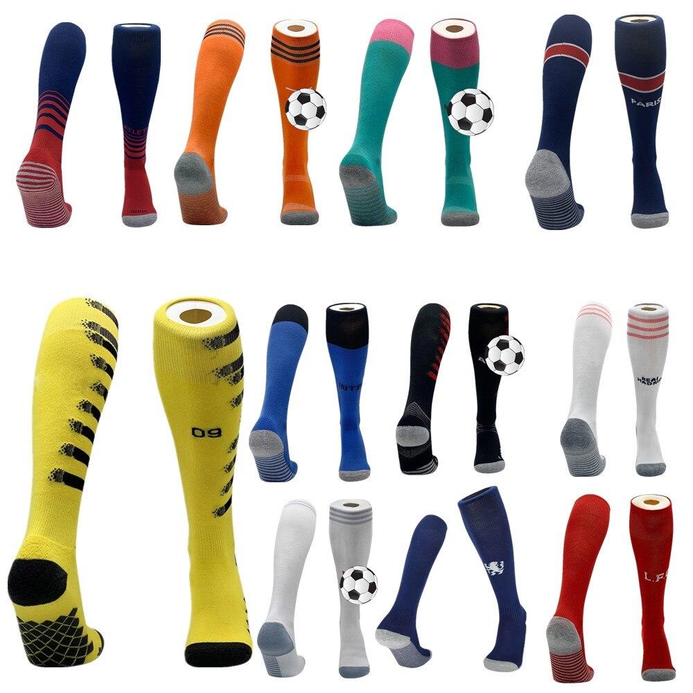 Новые футбольные спортивные носки для взрослых и детей, европейские Клубные Дышащие длинные чулки до колена, Нескользящие футбольные носки