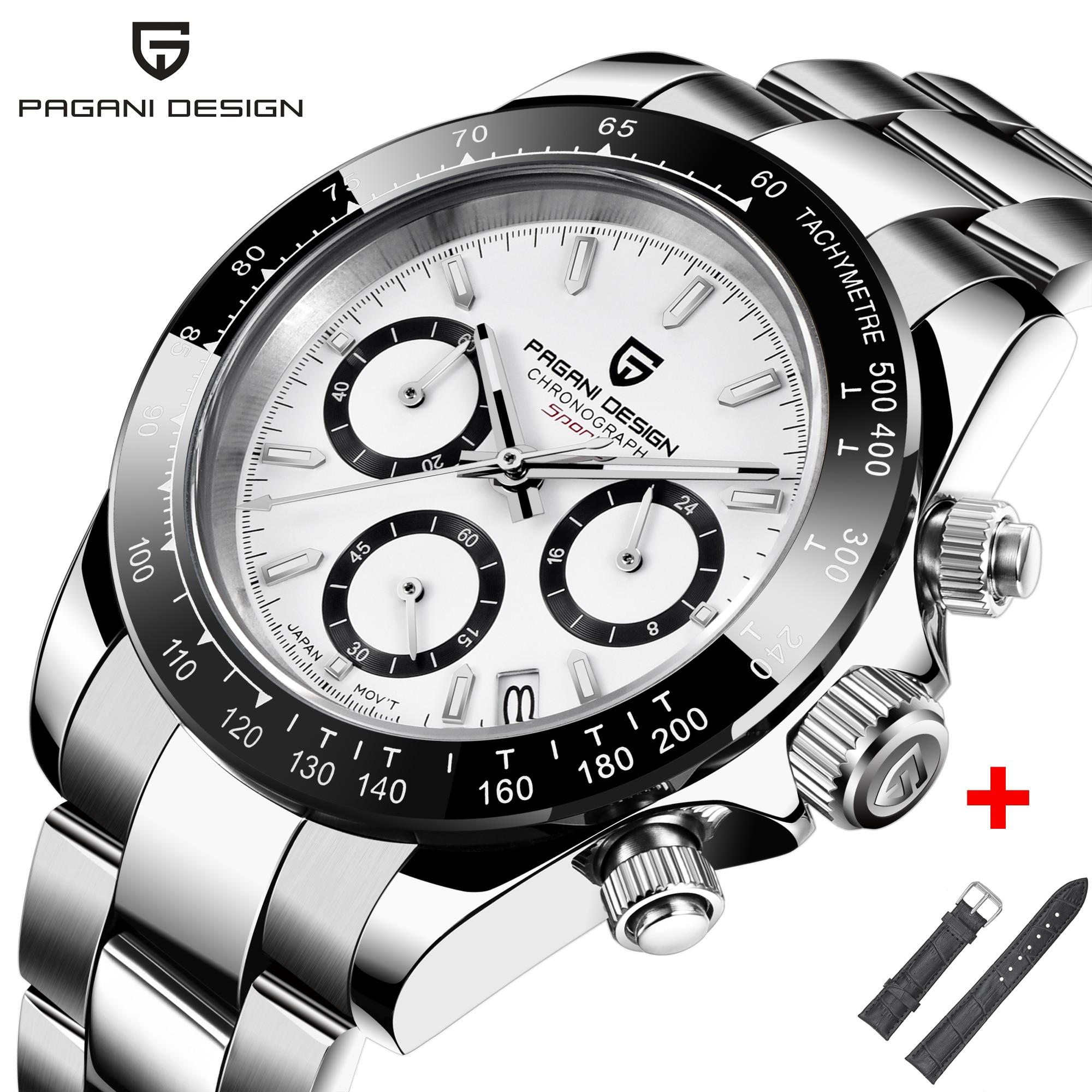 Часы PAGANI DESIGN PD 1644 мужские с хронографом, Роскошные Кварцевые часы Daytona, водонепроницаемые новые модные мужские наручные часы, Япония, VK63